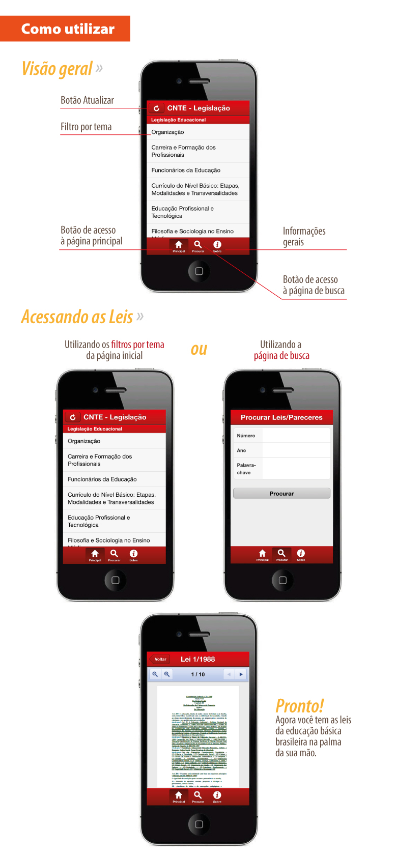 cnte tutorial app aplicativo cnte acessando as leis