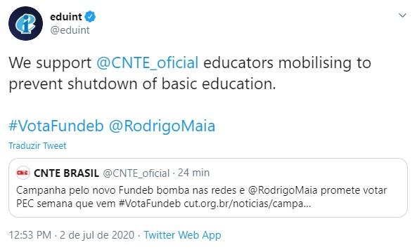 apoio internacional da educacao votaFundeb